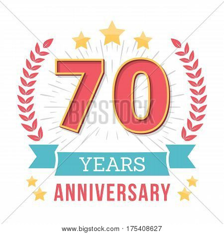 70 Years anniversary emblem with ribbon laurel wreath and stars, vector eps10 illustration