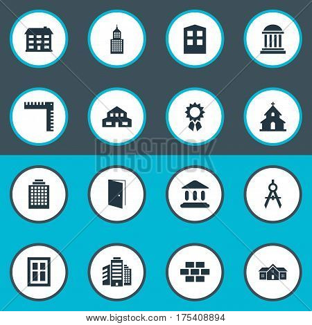 Vector Illustration Set Of Simple Architecture Icons. Elements Residential, Construction, Offices And Other Synonyms Door, Domicile And Hut.