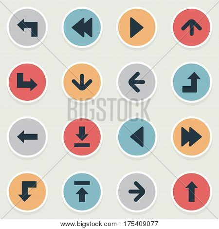 Vector Illustration Set Of Simple Pointer Icons. Elements Right Landmark, Let Down, Reduction Synonyms Upward, Increasing And Upper.