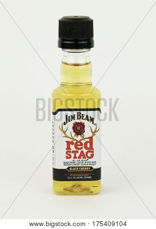 Spencer Wisconsin March9 2017 Bottle of Jim Beam Red Stag Whiskey Jim Beam is an American based company founded in 1795