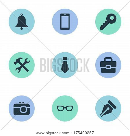 Vector Illustration Set Of Simple  Icons. Elements Business Bag, Cravat, Mobile Phone And Other Synonyms Tie, Cravat And Password.