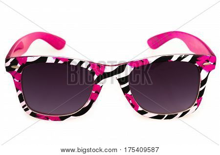 Shady Sunglasses With Zebra Pattern And Lipstick Kisses Rims