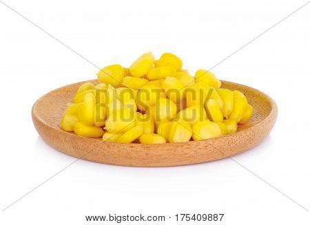 corn in the wooden plate yellow raw tilt shift,
