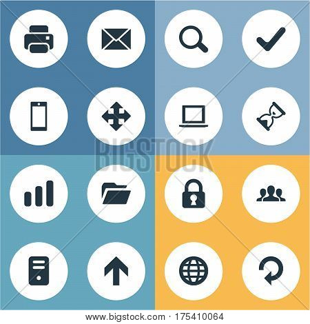 Vector Illustration Set Of Simple Practice Icons. Elements Message, Notebook, Upward Direction And Other Synonyms Invitation, Dossier And Community.