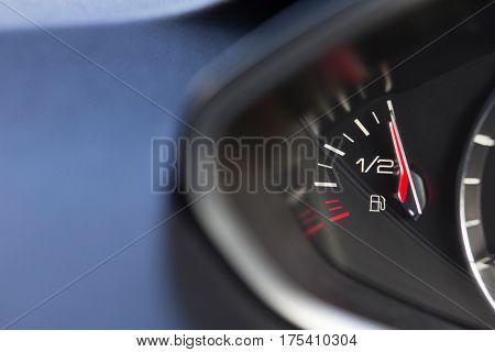 Close Up Of Fuel Gauge In Car Registering Full
