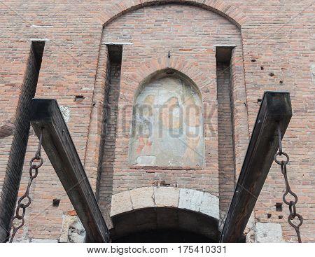 Fresco Above Lift Bridge And Entrance To Castelvecchio Fortress