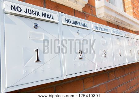 Line Of Mailboxes With No Junk Mail Notice