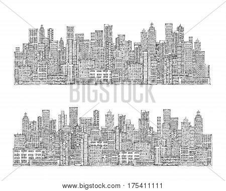 City Skyline. Hand Drawn Illustration