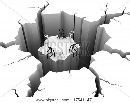 3d render. circular hole in the ground, People on the island