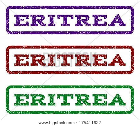 Eritrea watermark stamp. Text caption inside rounded rectangle with grunge design style. Vector variants are indigo blue, red, green ink colors. Rubber seal stamp with dust texture.