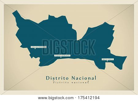 Modern Map - Distrito Nacional Do Illustration Silhouette
