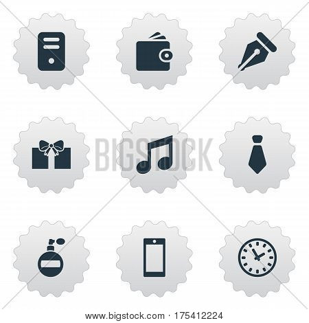 Vector Illustration Set Of Simple Instrument Icons. Elements Gift, System Unit, Billfold And Other Synonyms Pen, Deodorant And Music.