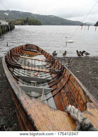Rowing Boat in aView if Lake Windermere, The Lake District, England.