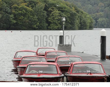 Red Boats on Lake Windermere, Bowness, England