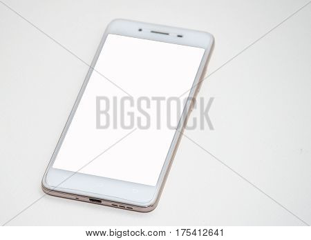Top view.Cellphone pictogram in trendy flat style isolated on white background.
