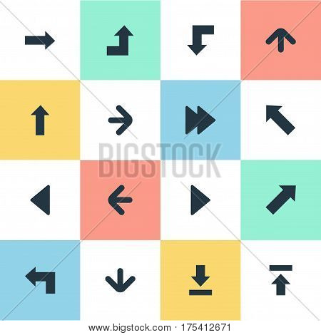 Vector Illustration Set Of Simple Indicator Icons. Elements Left Direction, Downwards Pointing, Advanced And Other Synonyms Growing, Download And Upper.