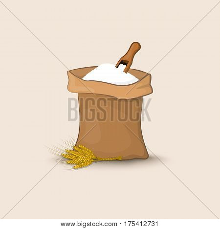 A Bag Of Flour With A Shovel And Ears Of Wheat, Barley Or Rye