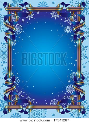 Vector Christmas background with a ribbon border