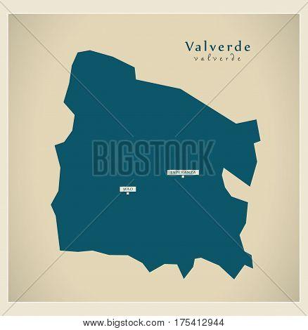 Modern Map - Valverde Do Illustration Silhouette