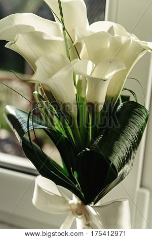 Luxury Gorgeous Wedding Bouquet With White Calla And Lily For Bride