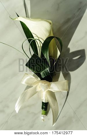 Luxury Gorgeous Wedding Boutonniere With White Calla And Lily For Groom