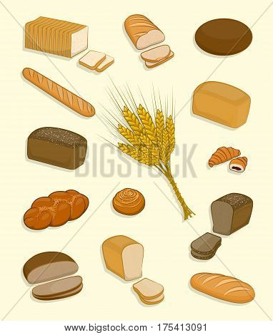 Set Of Bakery And Confectionery On A White Background