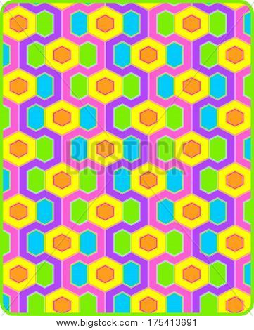 Sixties Modern style op art design in brilliant pastels
