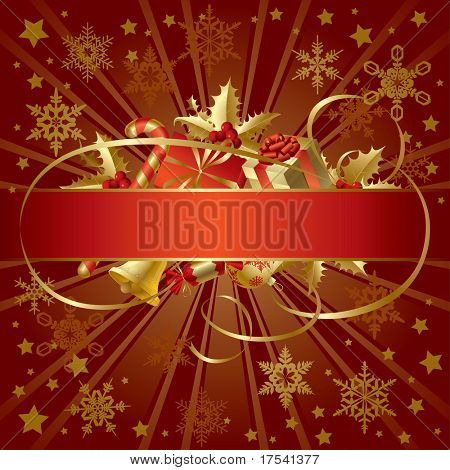 Isolated raster version of vector gold Christmas banner (contain the Clipping Path of the banner and the decorations)