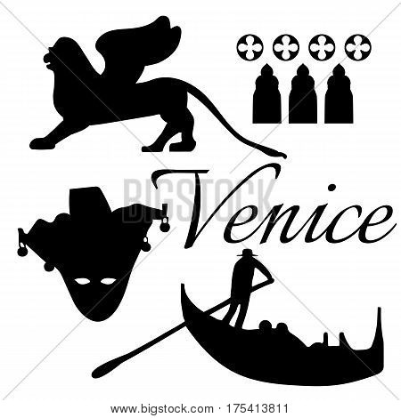 Venice flat icons.  Mask, gondola lion Vector