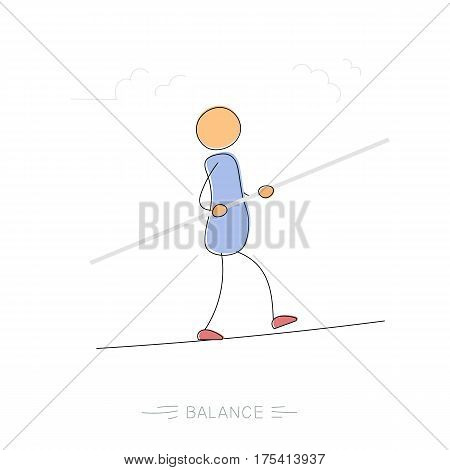 Vector hand drawing illustration of man walking on rope with balance in hand. Concept of balance in life and pondering steps. Modern thin line art concept with pastel colors on white background
