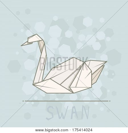 Vector simple illustration paper origami of swan.