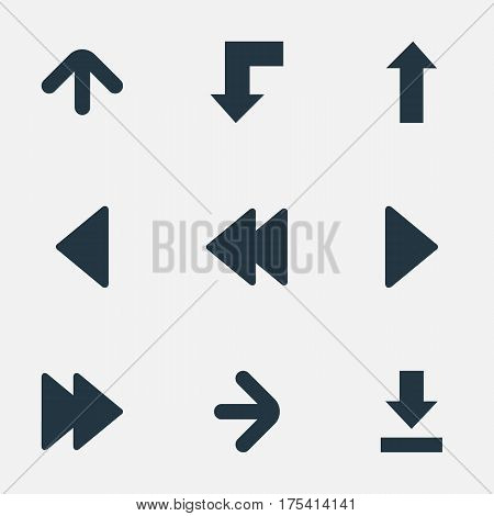 Vector Illustration Set Of Simple Pointer Icons. Elements Upward Direction , Let Down, Right Landmark Synonyms Decline, Right And Direction.