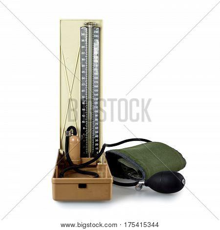 Close up of retro sphygmomanometer isolated on white background