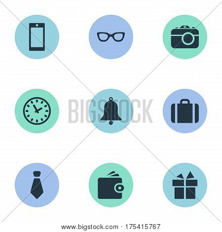 Vector Illustration Set Of Simple  Icons. Elements Eyeglasses, Present, Cravat And Other Synonyms Clock, Camera And Suitcase.