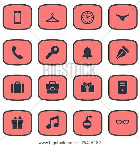 Vector Illustration Set Of Simple Instrument Icons. Elements System Unit, Eyeglasses, Call Button And Other Synonyms Call, Hanger And Grant.