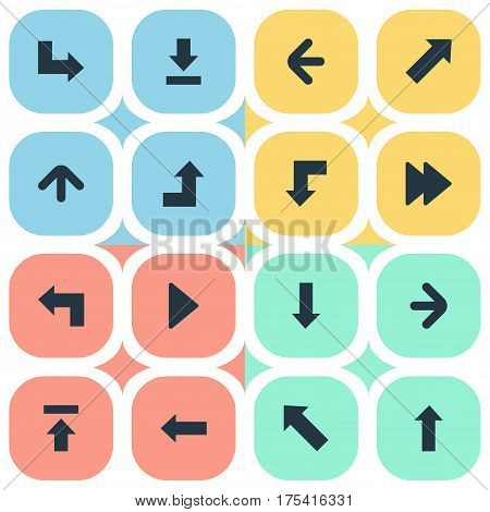 Vector Illustration Set Of Simple Indicator Icons. Elements Left Direction , Advanced, Right Landmark Synonyms Pointing, Decline And Increasing.