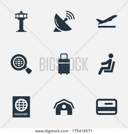 Vector Illustration Set Of Simple Plane Icons. Elements Credit Card, Travel Bag, Seat And Other Synonyms Seat, Plastic And Earth.