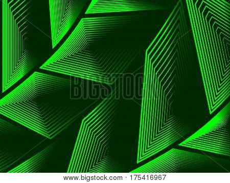 Vector illustration. Abstract background. Volumetric concentric figures of arbitrary shape on a green background. Different colors.