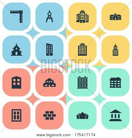 Vector Illustration Set Of Simple Construction Icons. Elements Stone, Residential, Offices And Other Synonyms Building, Residence And Superstructure.