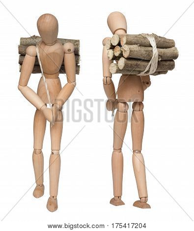 This is a heavy burden. Wooden dummy carries bundle of firewood. Isolated on white background.