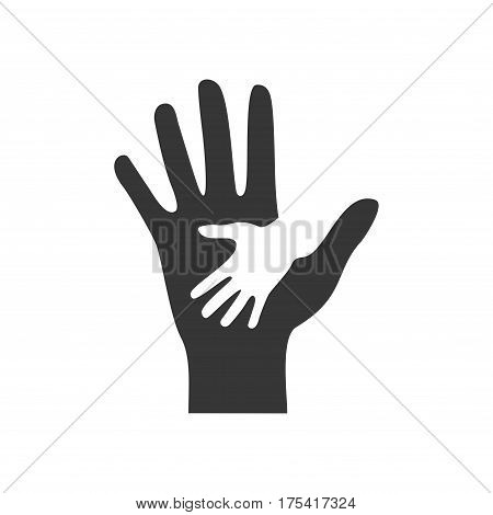 Caring helping hands icon isolated on white background. Concept of help, assistance and cooperation vector illustration.