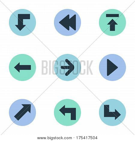 Vector Illustration Set Of Simple Indicator Icons. Elements Left Direction, Right Direction, Pointer And Other Synonyms Backward, Upper And Right.