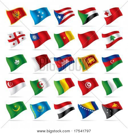 Isolated raster version of vector set of world flags 4 (contain the Clipping Path of all objects)