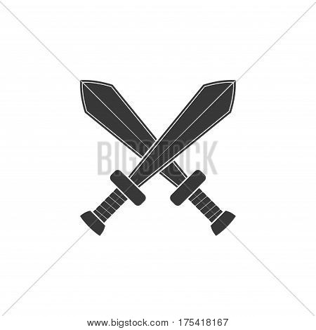 Crossed swords icon isolated on white background. Arms vector illustration