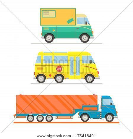 Cartoon transport set. Postal truck school bus semi-trailer truck. vector illustration.