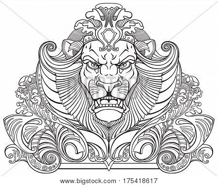 head of lion king . Front view ornament tattoo. Black and white outline vector illustration