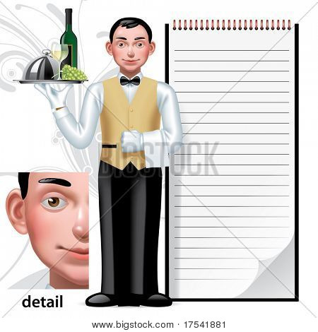 Vector image of a young waiter & writing pad