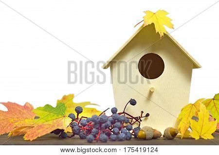 Birdhouse and autumn leaves isolated on white background