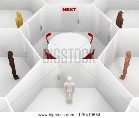 Five People Standing Around The Closed White Room With Round Table And Closed Door With A Red Next S