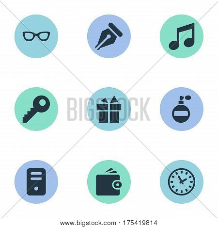 Vector Illustration Set Of Simple Accessories Icons. Elements Eyeglasses, Billfold, Ink Pencil And Other Synonyms Spectacles, Fragrance And Pen.